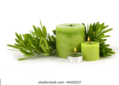 branch pine and burning candle