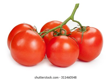 Branch of red tomatoes isolated on white