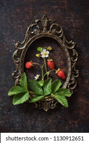 Branch of a strawberry with berries on a wooden old board and vintage frame