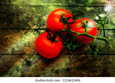 A branch of tomatoes lying on a wooden chopping board. Green trees and sparkle of light shining through.