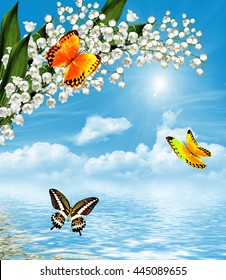 The branch of white flowers lily of the valley on a background of blue sky with clouds. butterfly
