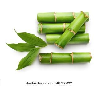 Bambuszweige einzeln auf weißem Hintergrund