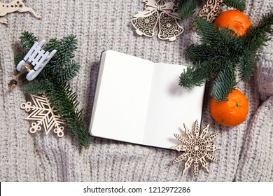 Branches of a Christmas tree with dry oranges and New Year's toys. Christmas card