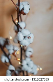 branches of cotton and beautiful lanterns
