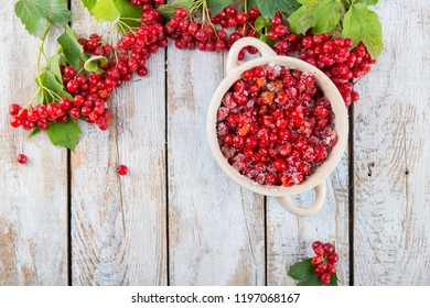 branches of red viburnum on a wooden background, background and texture,place for text or for a recipe