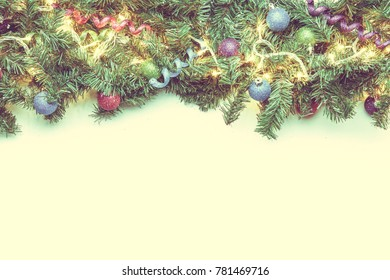 Branches spruce with Christmas ornaments