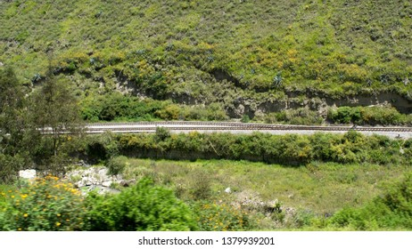 Branching train tracks on the Devil's Nose Railroad near Alausi, Ecuador