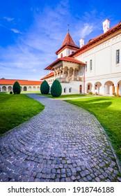 Brancoveanu Kloster, Siebenbürgen. Hof des berühmten orthodoxen Klosters in Sambata de Sus Dorf, Reise Anblick von Rumänien.