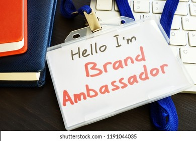 Brand ambassador badge on a keyboard.