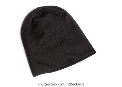 Brand black wool knitted winter hat isolated on white background