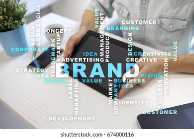 Brand concept on the virtual screen. Business concept. Words cloud.
