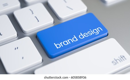 Brand Design - Text on the Blue Keyboard Key. 3D.