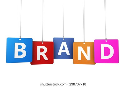 Brand marketing concept with sign and text on colorful hanged tags for branding design and business isolated on white background.