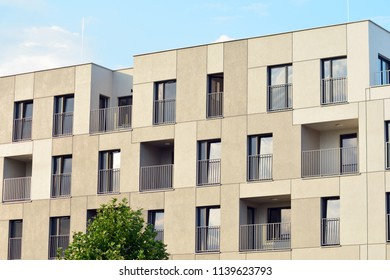 Brand new apartment building on sunny