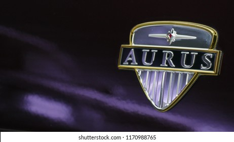Brand new Aurus logo on the car at the exhibition MIMS 2018. SEP 03, 2018 MOSCOW, RUSSIA