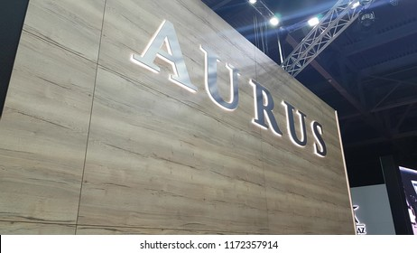 Brand new Aurus logo on the wall at the exhibition MIMS 2018. SEP 03, 2018 MOSCOW, RUSSIA