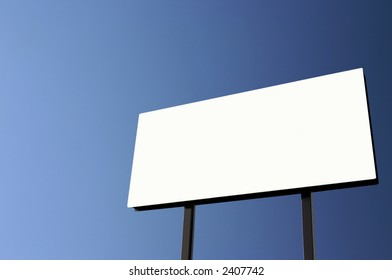 Brand new billboard and a pure blue sky - the sun was on the left  giving a lighter left side