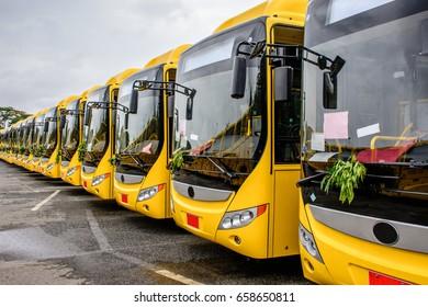 brand new buses for public transportation in Yangon, Myanmar, June-2017