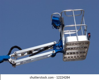 Brand new cherry picker (basket) extended up high