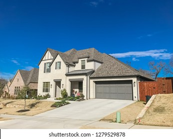 Brand new construction single-family house with attached garage near Dallas, Texas, USA