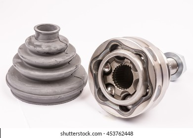Brand new CV joint with rubber isolated over white with copy space