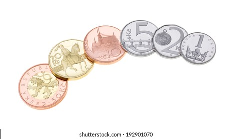 Brand New Czech Crown Coins Isolated on White Background, 2014 Minted, Proof Quality, Czech Currency, Czech Money