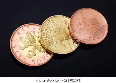 Brand New Czech Crown Coins on Black Background, 2014 Minted, 50 CZK - 20 CZK - 10 CZK, Fifty Crowns, Twenty Crowns, Ten Crowns, Proof Quality, Czech Currency, Czech Money