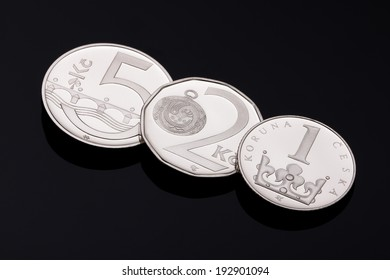 Brand New Czech Crown Coins on Black Background, 2014 Minted, 5 CZK - 2 CZK - 1 CZK, Five Crowns, Two Crowns, One Crown, Proof Quality, Czech Currency, Czech Money