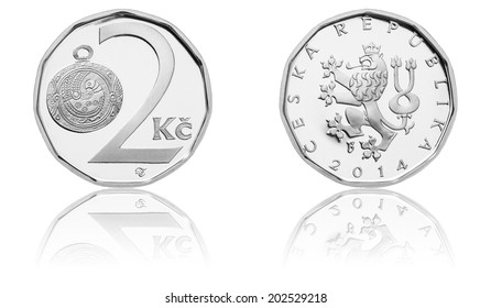 Brand New Czech Crown Coins, 2 CZK, Two Crowns, The Obverse and Reverse, Czech Currency, Proof Quality, 2014 Minted