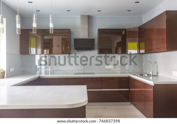 Brand New Modern Kitchen Open Space Stock Photo Edit Now 746837398