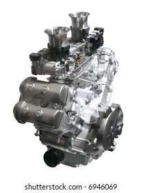 Brand new motorcycle engine isolated over white