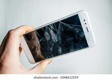 Brand new screen broken smart phone.  Broken phone.