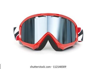 Brand new ski goggles isolated on white background