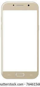 Brand new smartphone golden color with blank screen isolated on white background mockup. Front view of modern android multimedia smart phone easy to edit and put your image.