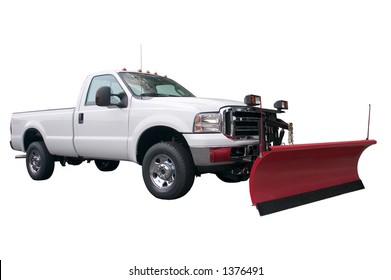 A brand new snow plow truck isolated on a white background.