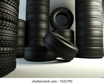 brand new tyre, 3d rendering of car wheel