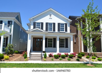 Brand New White Suburban American Dream Home with Large Front Porch