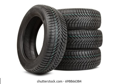 Brand new winter tires with a modern tread