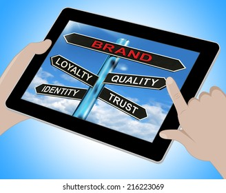 Brand Tablet Showing Loyalty Identity Quality And Trust