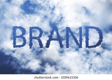 BRAND word on cloudy sky concept