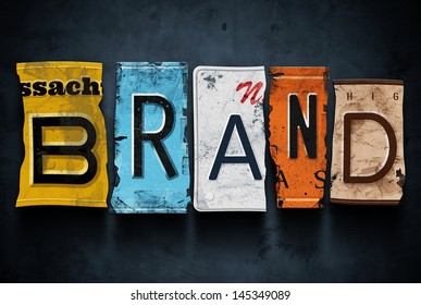 Brand word on vintage broken car license plates, concept sign