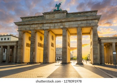 The Brandenburg Gate in Berlin at amazing sunrise, Germany