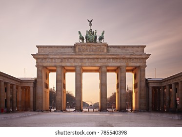 The Brandenburg Gate in Berlin as daytime long exposure shot.