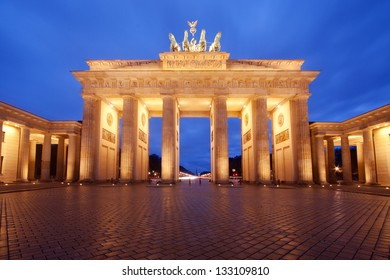 Brandenburg Gate in Berlin, Germany, at dusk