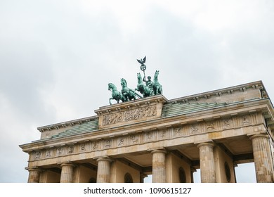 Brandenburg gate in Berlin, Germany or Federal Republic of Germany. Architectural monument in historic center of Berlin. Symbol and monument of architecture.