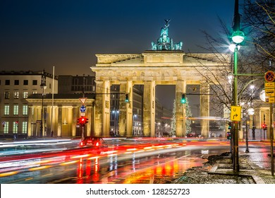 BRANDENBURG GATE, Berlin, Germany at night. Road side view