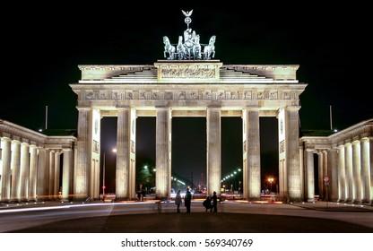 Brandenburg Gate, Berlin, Germany. Night view of the iconic Brandenburg Gate landmark in the centre of Berlin, Germany.