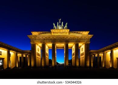 Brandenburg Gate in Berlin illuminated at night