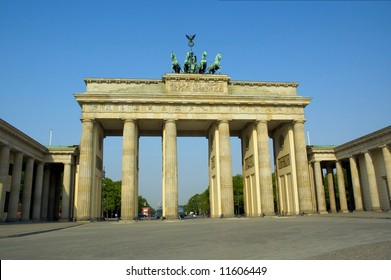 Brandenburg Gate in Berlin at Sunrise.