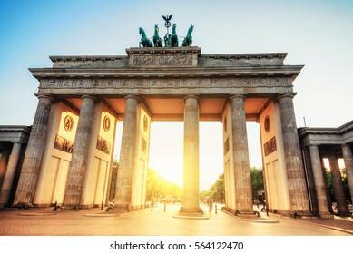 Brandenburg gate in Berlin at sunset